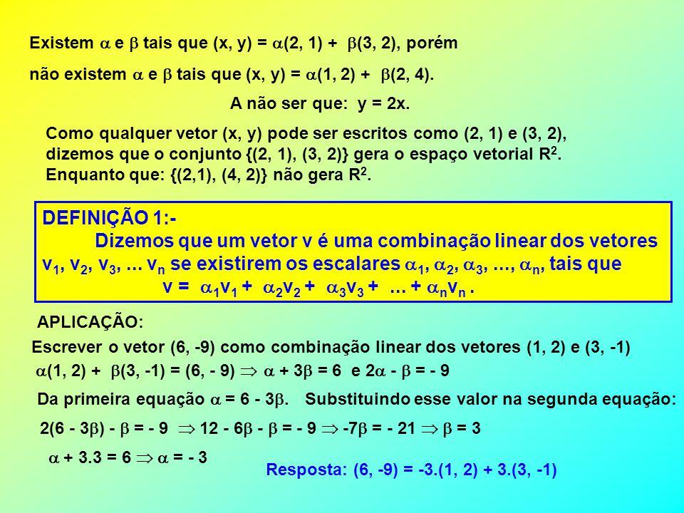 Existem e tais que (x, y) = (2, 1) + (3, 2), porém não existem e tais que (x, y) = (1, 2) + (2, 4). A não ser que: y = 2x. Como qualquer vetor (x, y)