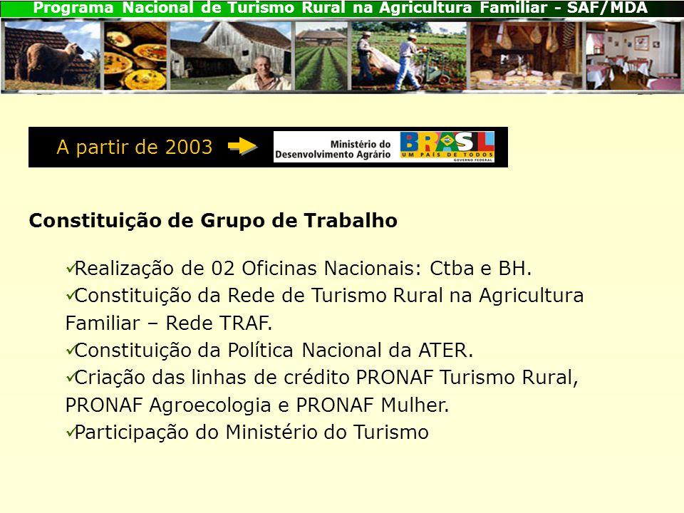 Programa Nacional de Turismo Rural na Agricultura Familiar - SAF/MDA Constituição de Grupo de Trabalho Realização de 02 Oficinas Nacionais: Ctba e BH.