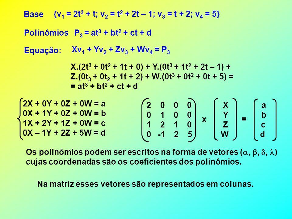 POLINÔMIOS Cada base de um espaço vetorial de polinômios de grau n é formada por n + 1 polinômios. Por exemplo: Para polinômios de grau 3, pode ser to