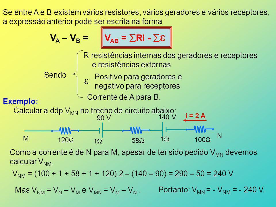 Se entre A e B existem vários resistores, vários geradores e vários receptores, a expressão anterior pode ser escrita na forma V AB = Ri - V A – V B =