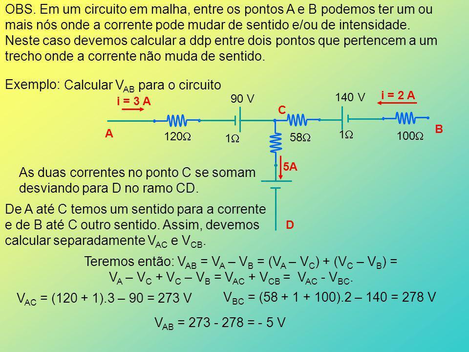 Exercícios: Para cada um dos trechos de circuito, calcular V AB 0,16 (a) i = 3 A 1,5 V 0,01 1,5 V 14,5 V 1,5 V 0,16 1,8 2 A B Resposta: 2 V (b) i = 2 A 10 V 200 B A 1 1 50 V30 V A B 1A 4A 5A 18 V, 1 50 V 20 100 50 1 1 (c) Resposta: - 724 V 10 Resposta: 564 V