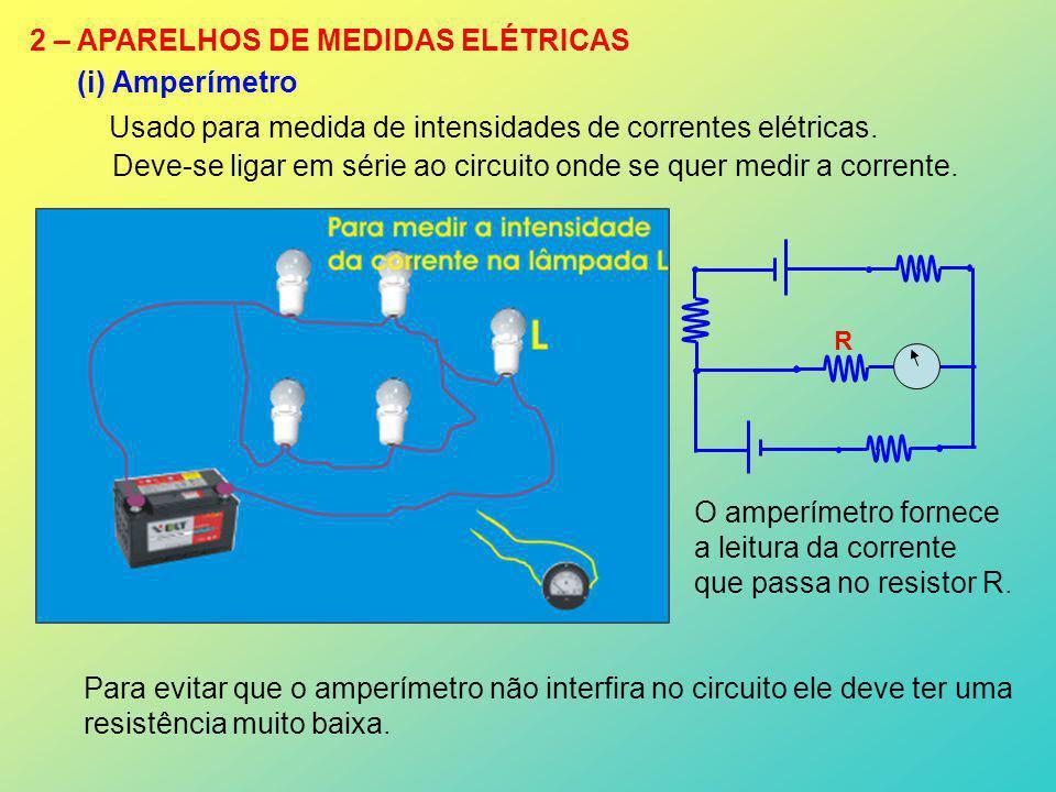 2 – APARELHOS DE MEDIDAS ELÉTRICAS (i) Amperímetro Usado para medida de intensidades de correntes elétricas. Deve-se ligar em série ao circuito onde s
