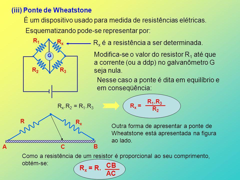 (iii) Ponte de Wheatstone É um dispositivo usado para medida de resistências elétricas. Esquematizando pode-se representar por: G R1R1 R2R2 R3R3 RxRx