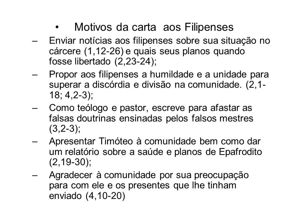 Motivos da carta aos Filipenses –Enviar notícias aos filipenses sobre sua situação no cárcere (1,12-26) e quais seus planos quando fosse libertado (2,
