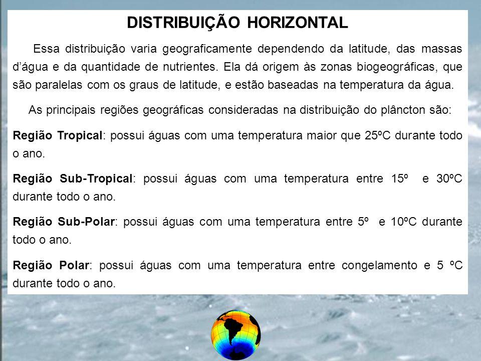 DISTRIBUIÇÃO HORIZONTAL Essa distribuição varia geograficamente dependendo da latitude, das massas dágua e da quantidade de nutrientes. Ela dá origem