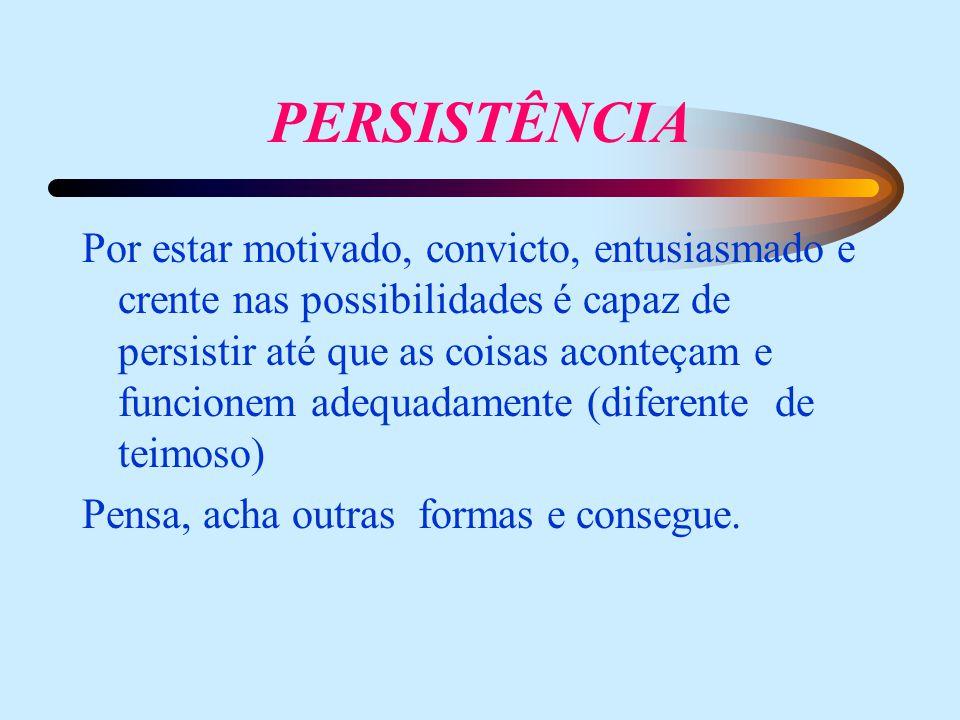 PERSISTÊNCIA Por estar motivado, convicto, entusiasmado e crente nas possibilidades é capaz de persistir até que as coisas aconteçam e funcionem adequadamente (diferente de teimoso) Pensa, acha outras formas e consegue.