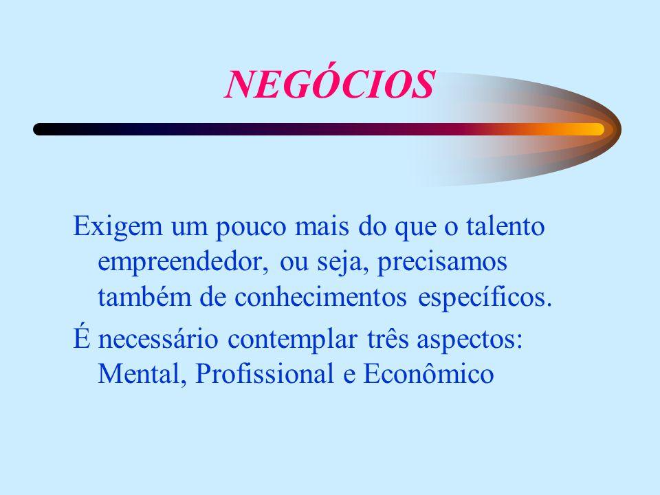 Exigem um pouco mais do que o talento empreendedor, ou seja, precisamos também de conhecimentos específicos.