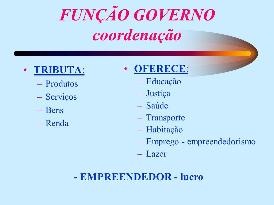 FUNÇÃO GOVERNO coordenação TRIBUTA: –Produtos –Serviços –Bens –Renda OFERECE: –Educação –Justiça –Saúde –Transporte –Habitação –Emprego - empreendedorismo –Lazer - EMPREENDEDOR - lucro