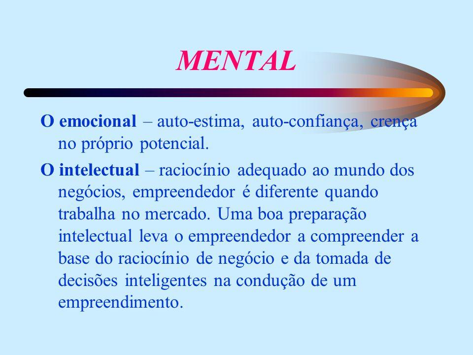 MENTAL O emocional – auto-estima, auto-confiança, crença no próprio potencial. O intelectual – raciocínio adequado ao mundo dos negócios, empreendedor