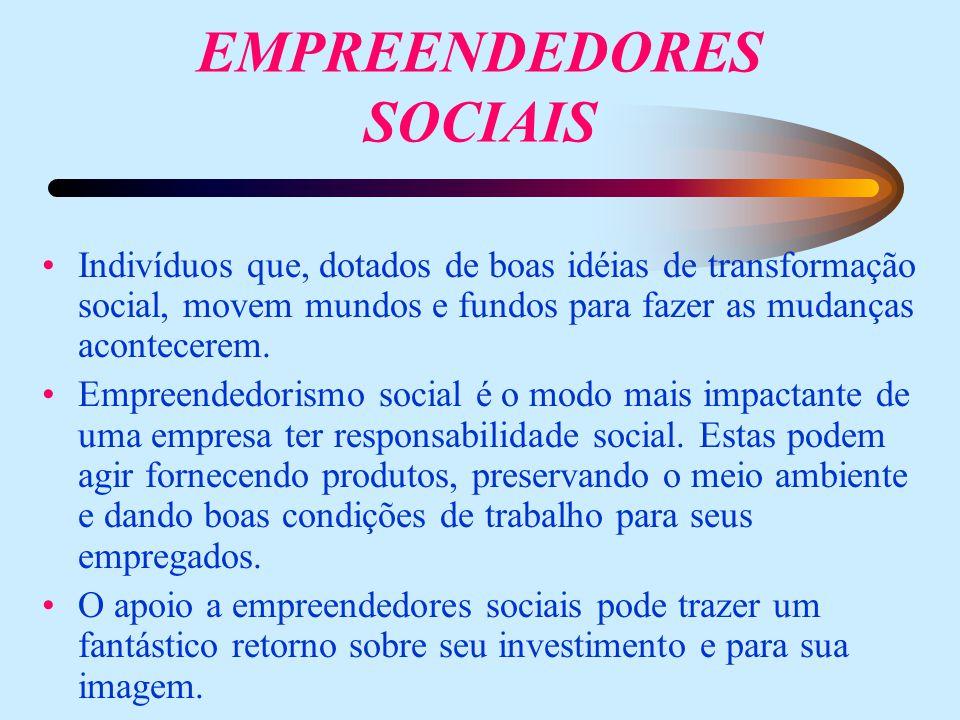EMPREENDEDORES SOCIAIS Indivíduos que, dotados de boas idéias de transformação social, movem mundos e fundos para fazer as mudanças acontecerem.
