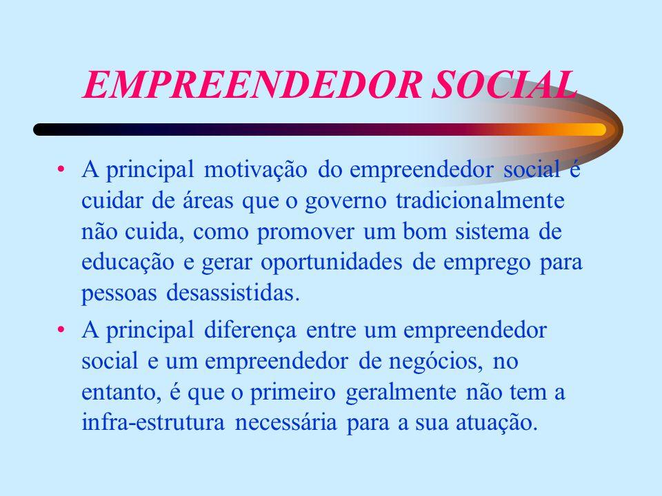 EMPREENDEDOR SOCIAL A principal motivação do empreendedor social é cuidar de áreas que o governo tradicionalmente não cuida, como promover um bom sistema de educação e gerar oportunidades de emprego para pessoas desassistidas.