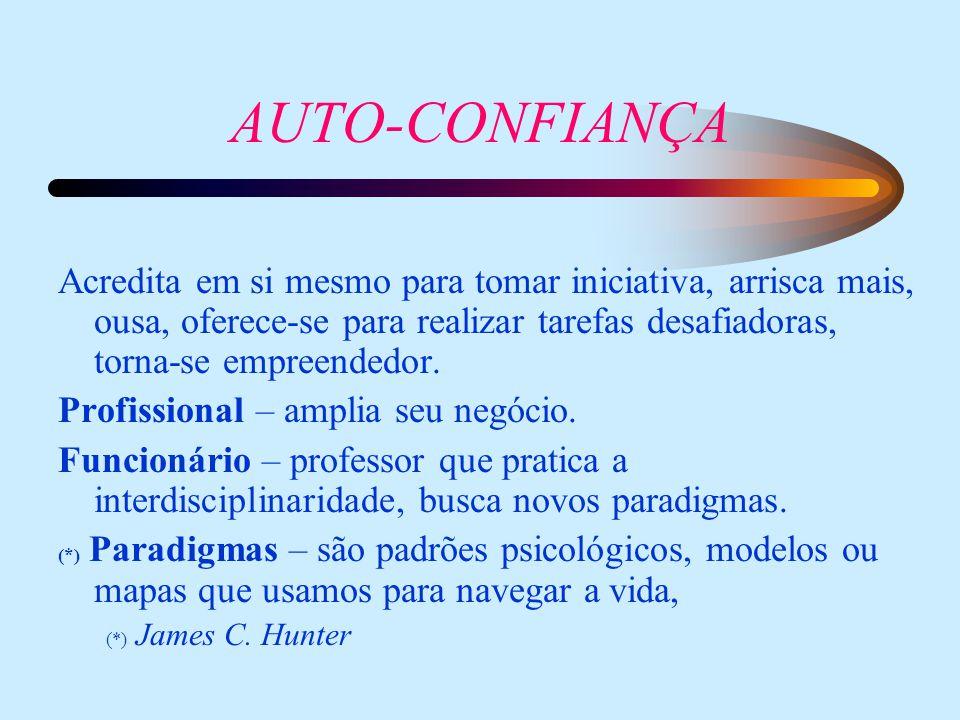 AUTO-CONFIANÇA Acredita em si mesmo para tomar iniciativa, arrisca mais, ousa, oferece-se para realizar tarefas desafiadoras, torna-se empreendedor.