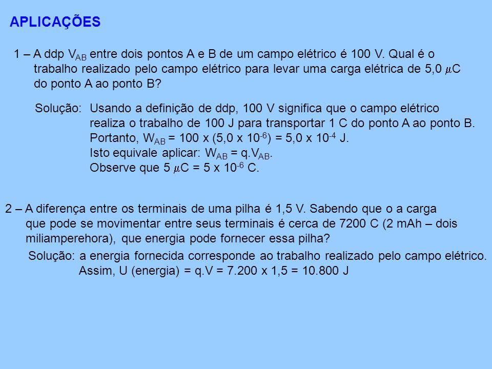 APLICAÇÕES 1 – A ddp V AB entre dois pontos A e B de um campo elétrico é 100 V.