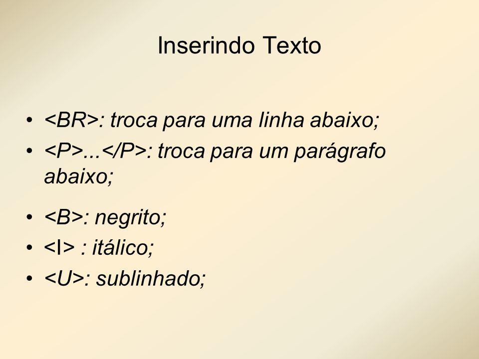 Inserindo Texto : troca para uma linha abaixo;... : troca para um parágrafo abaixo; : negrito; : itálico; : sublinhado;