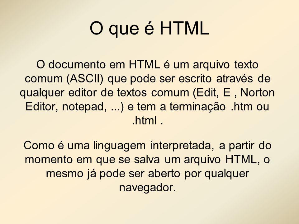O que é HTML O documento em HTML é um arquivo texto comum (ASCII) que pode ser escrito através de qualquer editor de textos comum (Edit, E, Norton Edi
