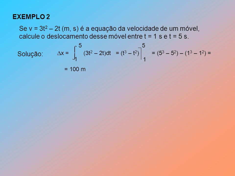 EXEMPLO 2 Se v = 3t 2 – 2t (m, s) é a equação da velocidade de um móvel, calcule o deslocamento desse móvel entre t = 1 s e t = 5 s.