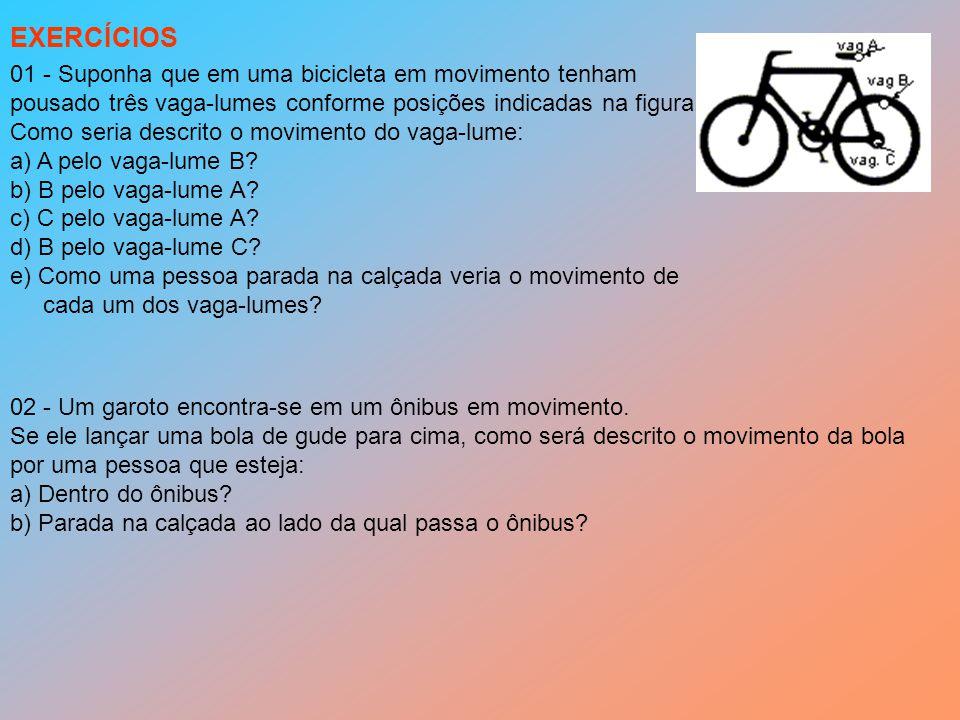 01 - Suponha que em uma bicicleta em movimento tenham pousado três vaga-lumes conforme posições indicadas na figura.