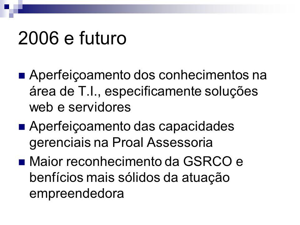 2006 e futuro Aperfeiçoamento dos conhecimentos na área de T.I., especificamente soluções web e servidores Aperfeiçoamento das capacidades gerenciais