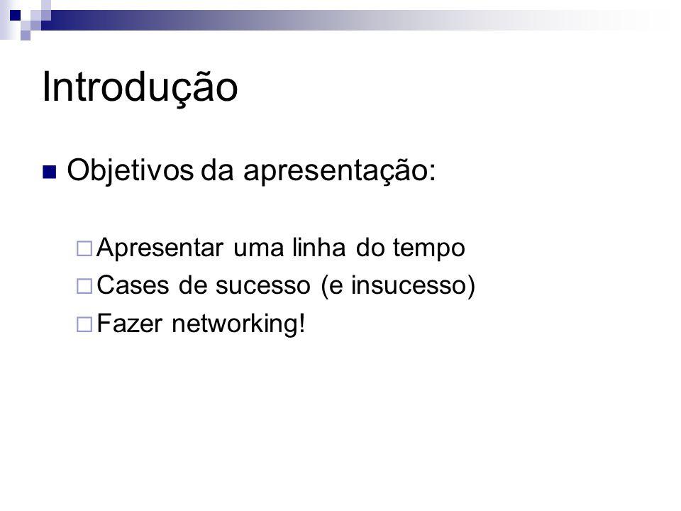 Introdução Objetivos da apresentação: Apresentar uma linha do tempo Cases de sucesso (e insucesso) Fazer networking!