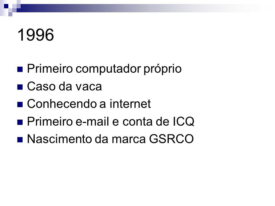 1997 Primeiro fax modem Chats, terminais de emulação, conhecendo sites Contas frias, hacking Descobrindo mundo das home pages