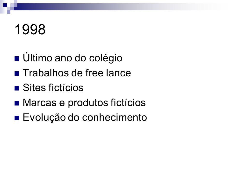 1998 Último ano do colégio Trabalhos de free lance Sites fictícios Marcas e produtos fictícios Evolução do conhecimento