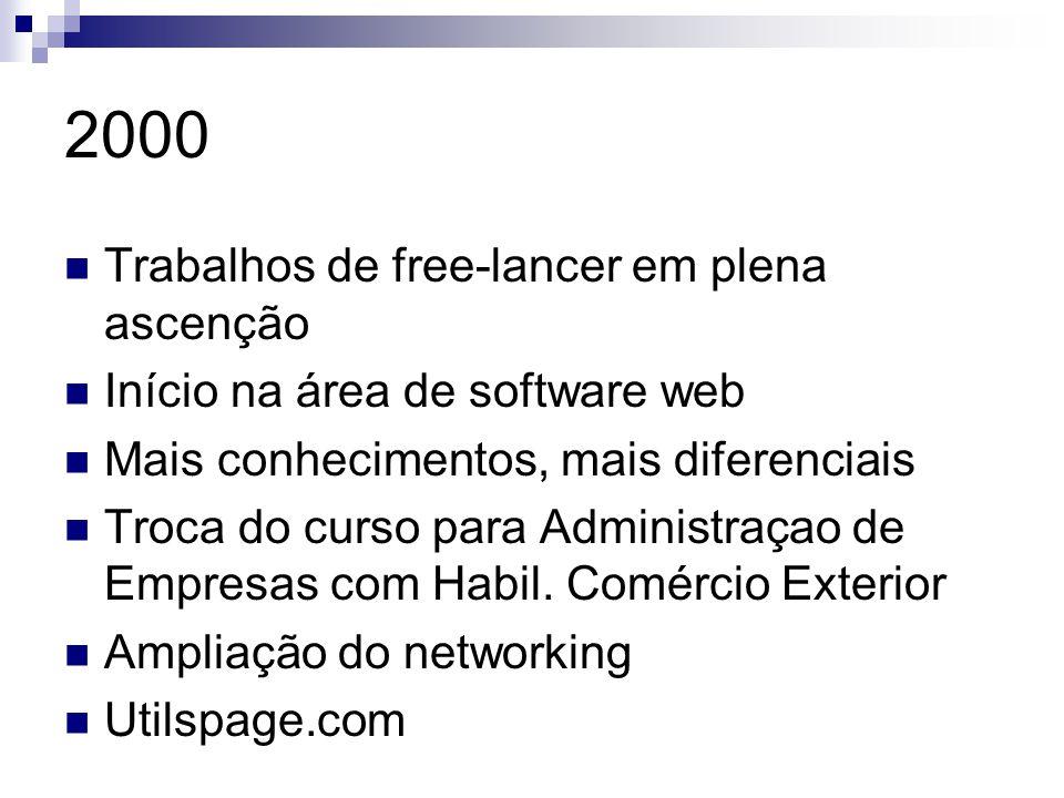 2000 Trabalhos de free-lancer em plena ascenção Início na área de software web Mais conhecimentos, mais diferenciais Troca do curso para Administraçao