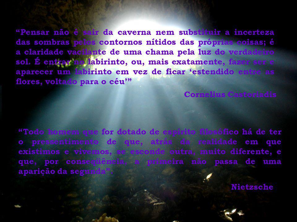 Pensar não é sair da caverna nem substituir a incerteza das sombras pelos contornos nítidos das próprias coisas; é a claridade vacilante de uma chama pela luz do verdadeiro sol.