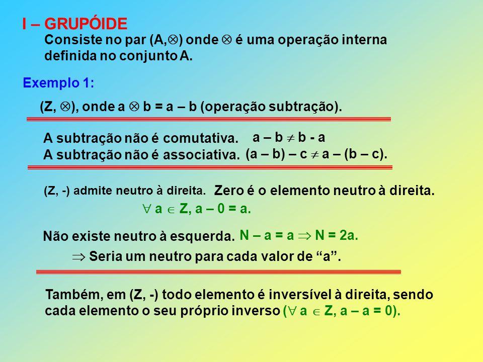 I – GRUPÓIDE Consiste no par (A, ) onde é uma operação interna definida no conjunto A. Exemplo 1: (Z, ), onde a b = a – b (operação subtração). Também