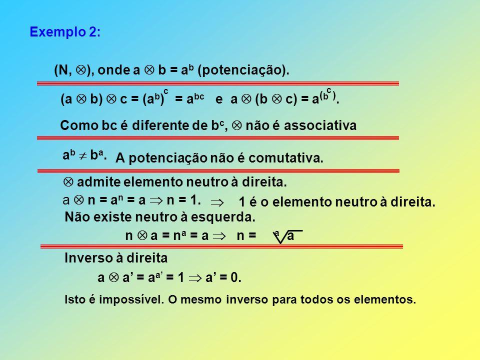 Exemplo 2: (N, ), onde a b = a b (potenciação). (a b) c = (a b ) = a bc e a (b c) = a ( b ). c c Como bc é diferente de b c, não é associativa admite