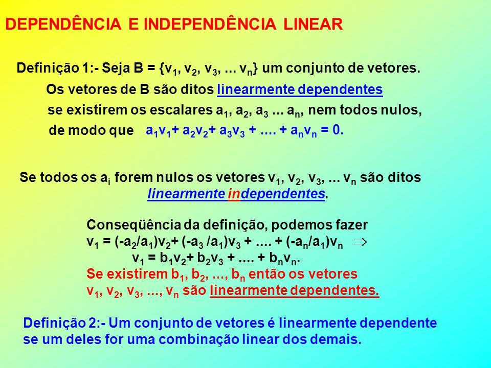 DEPENDÊNCIA E INDEPENDÊNCIA LINEAR a 1 v 1 + a 2 v 2 + a 3 v 3 +.... + a n v n = 0. Definição 1:- Seja B = {v 1, v 2, v 3,... v n } um conjunto de vet