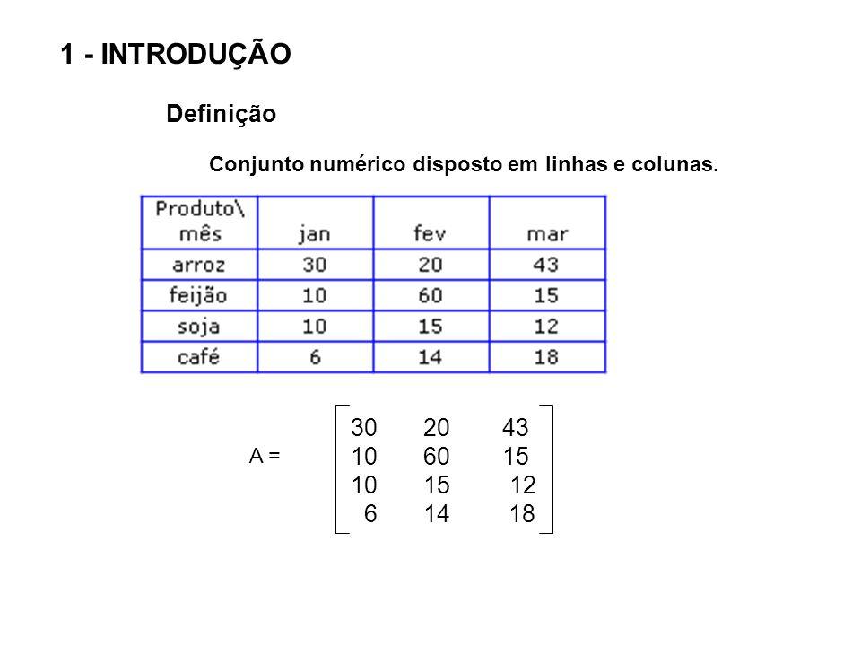 30 20 43 10 60 15 10 15 12 6 14 18 A = 1ª linha 2ª linha 3ª linha 4ª linha 1ª coluna2ª coluna3ª coluna Define-se a ordem da matriz como sendo m X n onde m é o número de linhas e n o número de colunas.