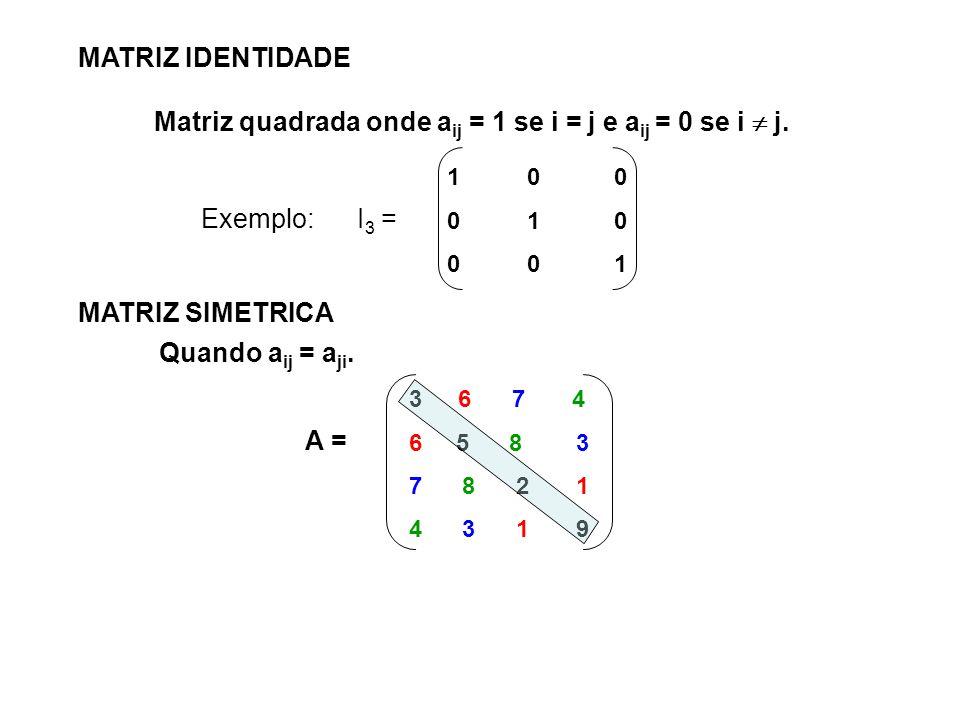 MATRIZ IDENTIDADE Matriz quadrada onde a ij = 1 se i = j e a ij = 0 se i j. Exemplo: I 3 = 1 0 0 0 1 0 0 0 1 MATRIZ SIMETRICA Quando a ij = a ji. 3 6