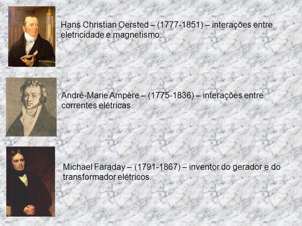 Charles Augustin de Coulomb – (1736-1806) – força entre corpos eletrizados. Luigi Galvani – (1737-1798) – músculos e células de rã produzindo eletrici