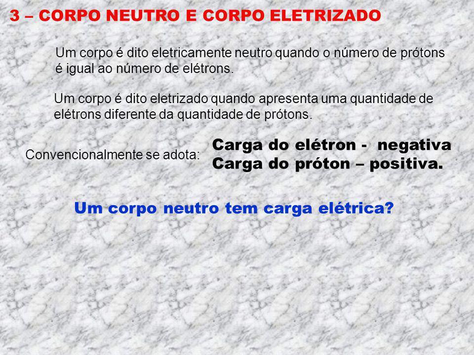 2 – AS PROPRIEDADES DE UM ÁTOMO Núcleo Prótons Neutrons Elétrons Prótons, elétrons e neutrons têm massa. M p M n = 1,67 x 10 - 27 kg M e = 9,0 x 10 -3