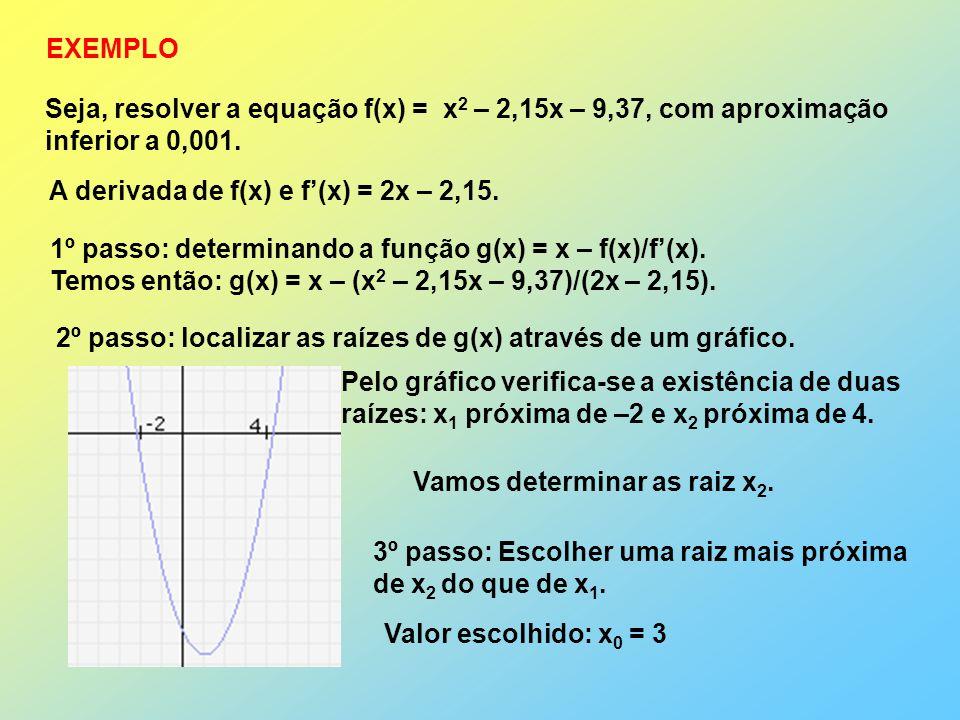 Seja, resolver a equação f(x) = x 2 – 2,15x – 9,37, com aproximação inferior a 0,001. EXEMPLO A derivada de f(x) e f(x) = 2x – 2,15. 1º passo: determi