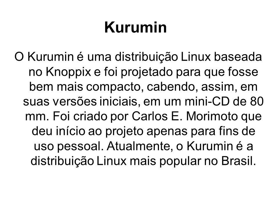 Kurumin O Kurumin é uma distribuição Linux baseada no Knoppix e foi projetado para que fosse bem mais compacto, cabendo, assim, em suas versões iniciais, em um mini-CD de 80 mm.