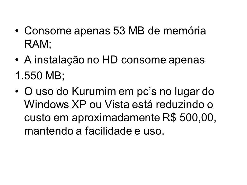 Consome apenas 53 MB de memória RAM; A instalação no HD consome apenas 1.550 MB; O uso do Kurumim em pcs no lugar do Windows XP ou Vista está reduzindo o custo em aproximadamente R$ 500,00, mantendo a facilidade e uso.