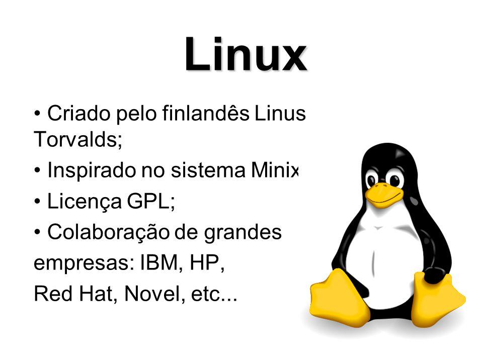 Modelo do Desenvolvimento: Open Source Kernel: Monolitico/Modular Licença: Várias Estado do Desenvolvimento: Ativo