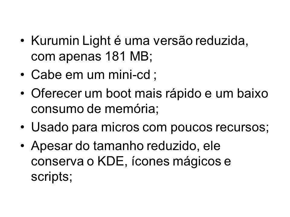 Kurumin Light é uma versão reduzida, com apenas 181 MB; Cabe em um mini-cd ; Oferecer um boot mais rápido e um baixo consumo de memória; Usado para micros com poucos recursos; Apesar do tamanho reduzido, ele conserva o KDE, ícones mágicos e scripts;