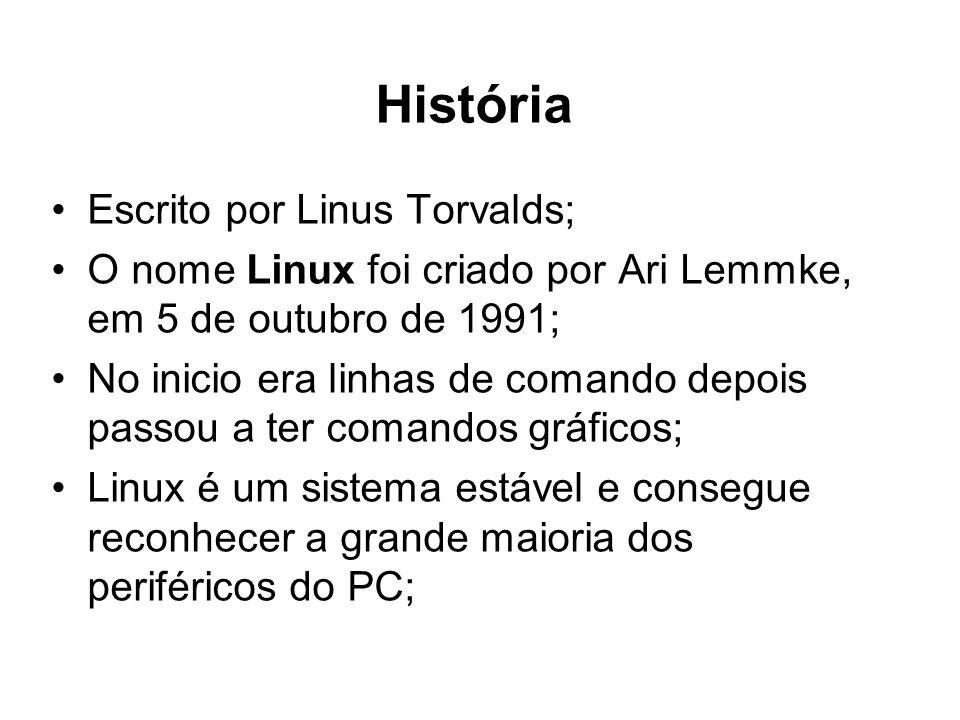 História Escrito por Linus Torvalds; O nome Linux foi criado por Ari Lemmke, em 5 de outubro de 1991; No inicio era linhas de comando depois passou a ter comandos gráficos; Linux é um sistema estável e consegue reconhecer a grande maioria dos periféricos do PC;