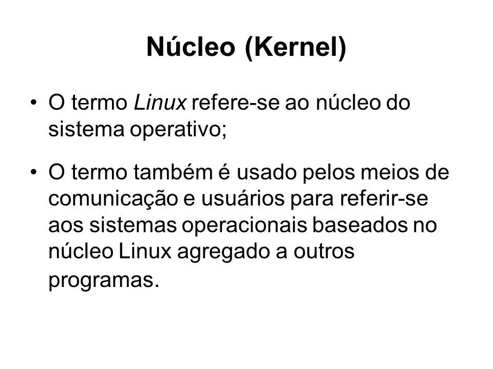 Núcleo (Kernel) O termo Linux refere-se ao núcleo do sistema operativo; O termo também é usado pelos meios de comunicação e usuários para referir-se aos sistemas operacionais baseados no núcleo Linux agregado a outros programas.