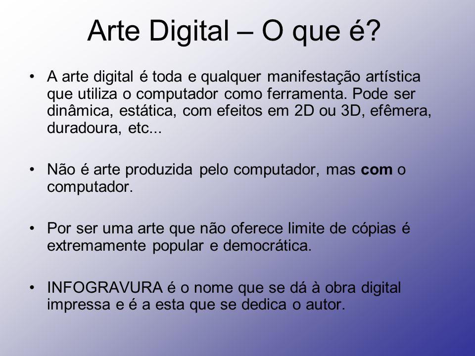 Arte Digital – O que é? A arte digital é toda e qualquer manifestação artística que utiliza o computador como ferramenta. Pode ser dinâmica, estática,