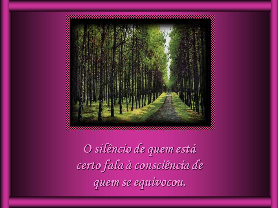 O silêncio de quem está certo fala à consciência de quem se equivocou.
