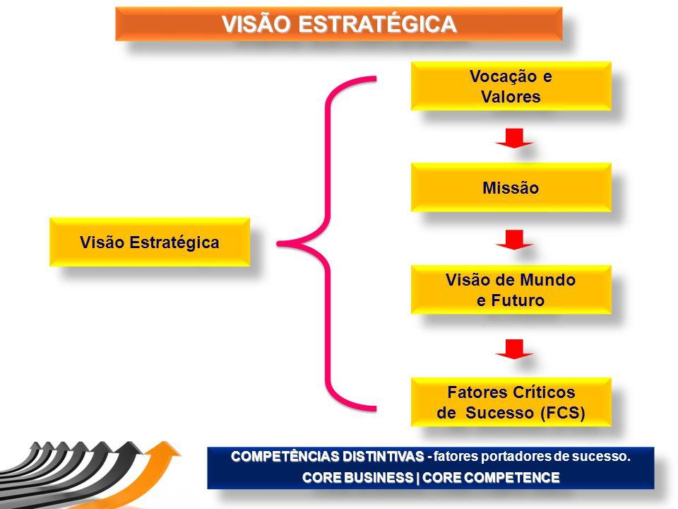 VISÃO ESTRATÉGICA Visão Estratégica Vocação e Valores Vocação e Valores Missão Visão de Mundo e Futuro Visão de Mundo e Futuro Fatores Críticos de Suc