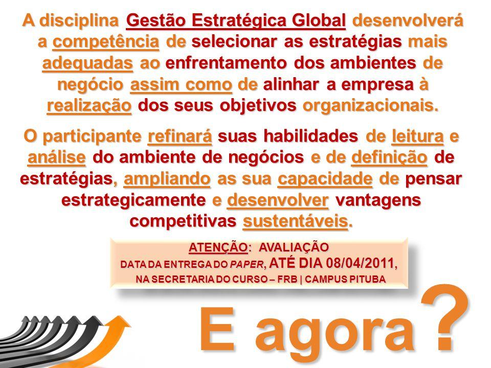 A disciplina Gestão Estratégica Global desenvolverá a competência de selecionar as estratégias mais adequadas ao enfrentamento dos ambientes de negóci
