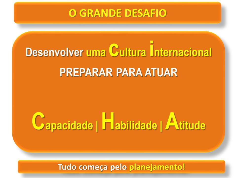 O GRANDE DESAFIO Desenvolver uma c ultura i nternacional PREPARAR PARA ATUAR C apacidade | H abilidade | A titude Desenvolver uma c ultura i nternacio