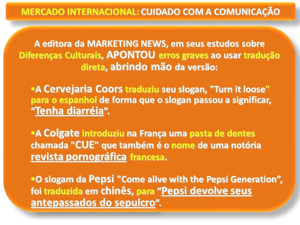 MERCADO INTERNACIONAL: CUIDADO COM A COMUNICAÇÃO A editora da MARKETING NEWS, em seus estudos sobre Diferenças Culturais, APONTOU erros graves ao usar