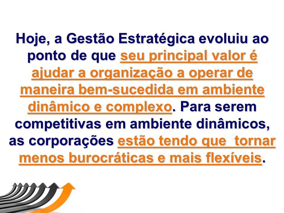 Hoje, a Gestão Estratégica evoluiu ao ponto de que seu principal valor é ajudar a organização a operar de maneira bem-sucedida em ambiente dinâmico e