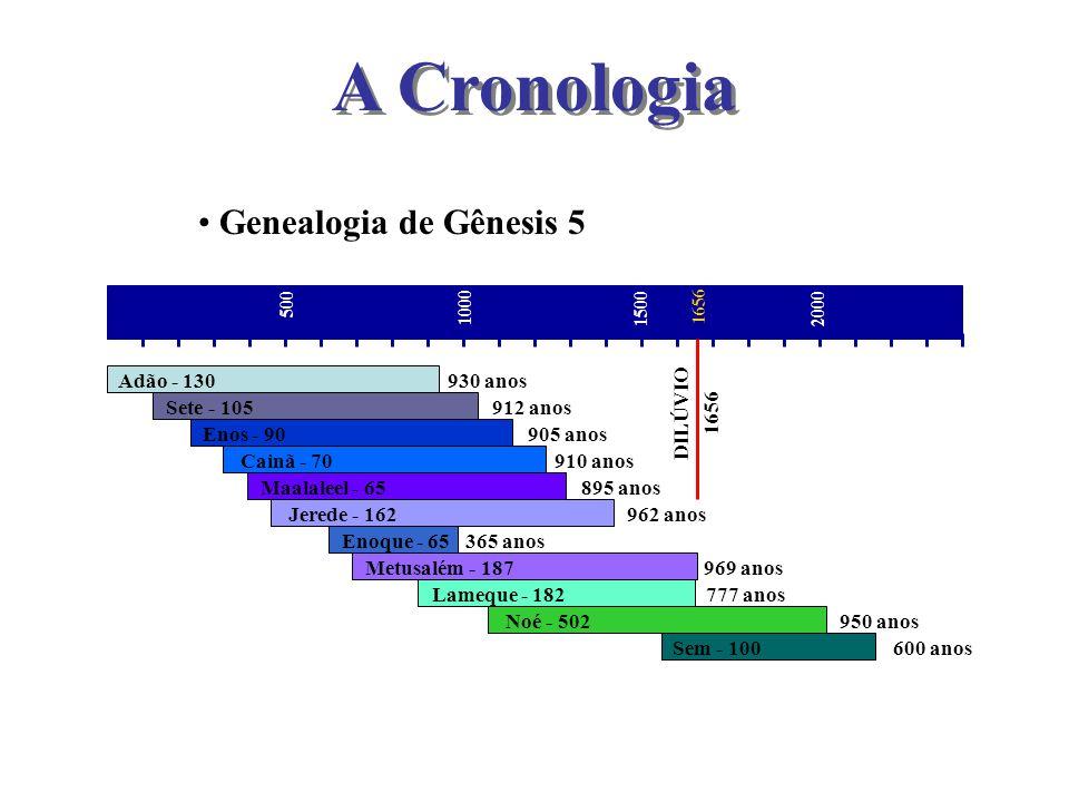 Genealogia de Gênesis 5 500 1000 1500 500 2000 Adão - 130 Sete - 105 Enos - 90 Cainã - 70 Maalaleel - 65 Jerede - 162 Enoque - 65 Metusalém - 187 Lame