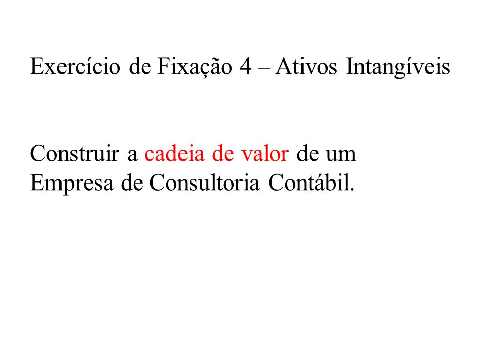 Exercício de Fixação 4 – Ativos Intangíveis Construir a cadeia de valor de um Empresa de Consultoria Contábil.
